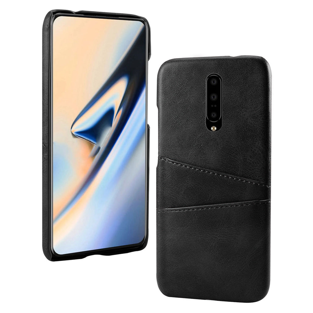 Phone case for Oneplus 7 Pro shockproof leather back cover with card slots black