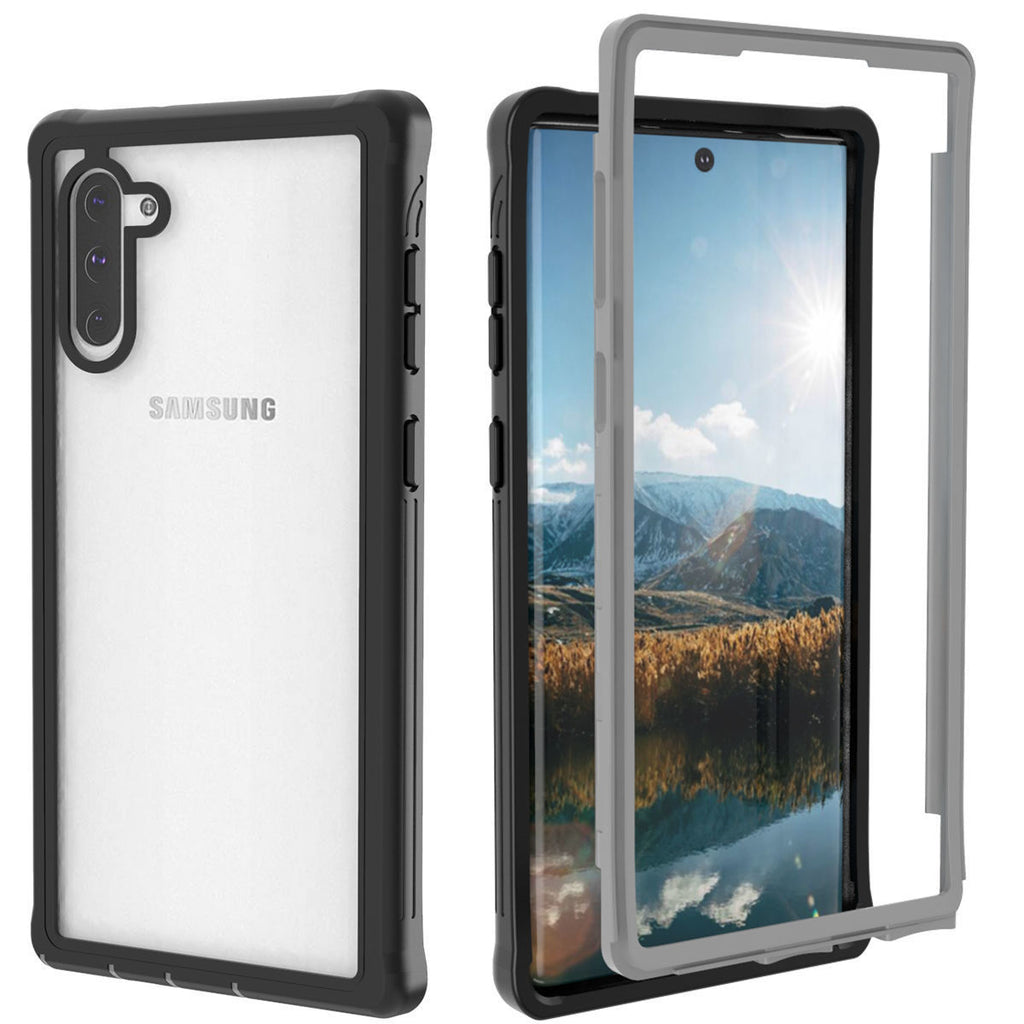 Case for Galaxy Note 10 Full Body Shockproof Rugged Phone Cover Black-Grey