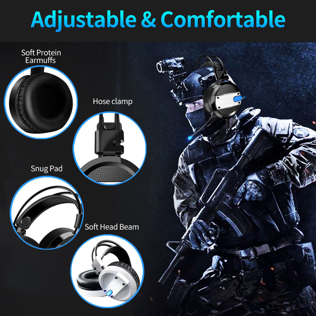 PS4 Game Earphone with Noise Canceling Mic Deep Bass Surround for PC Laptop