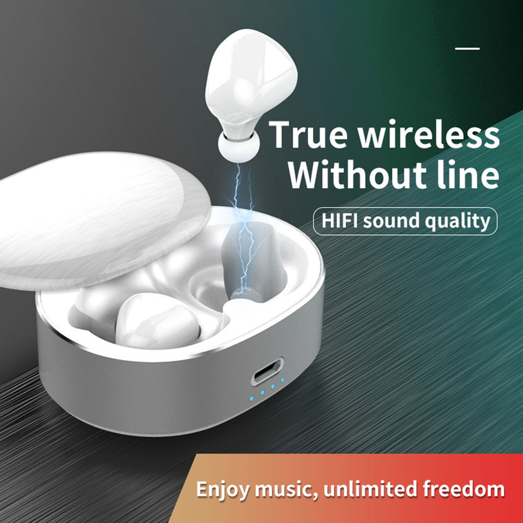 Wireless Earbuds Bluetooth 5.0 Earphones 6D Stereo Sound Noise Cancelling White