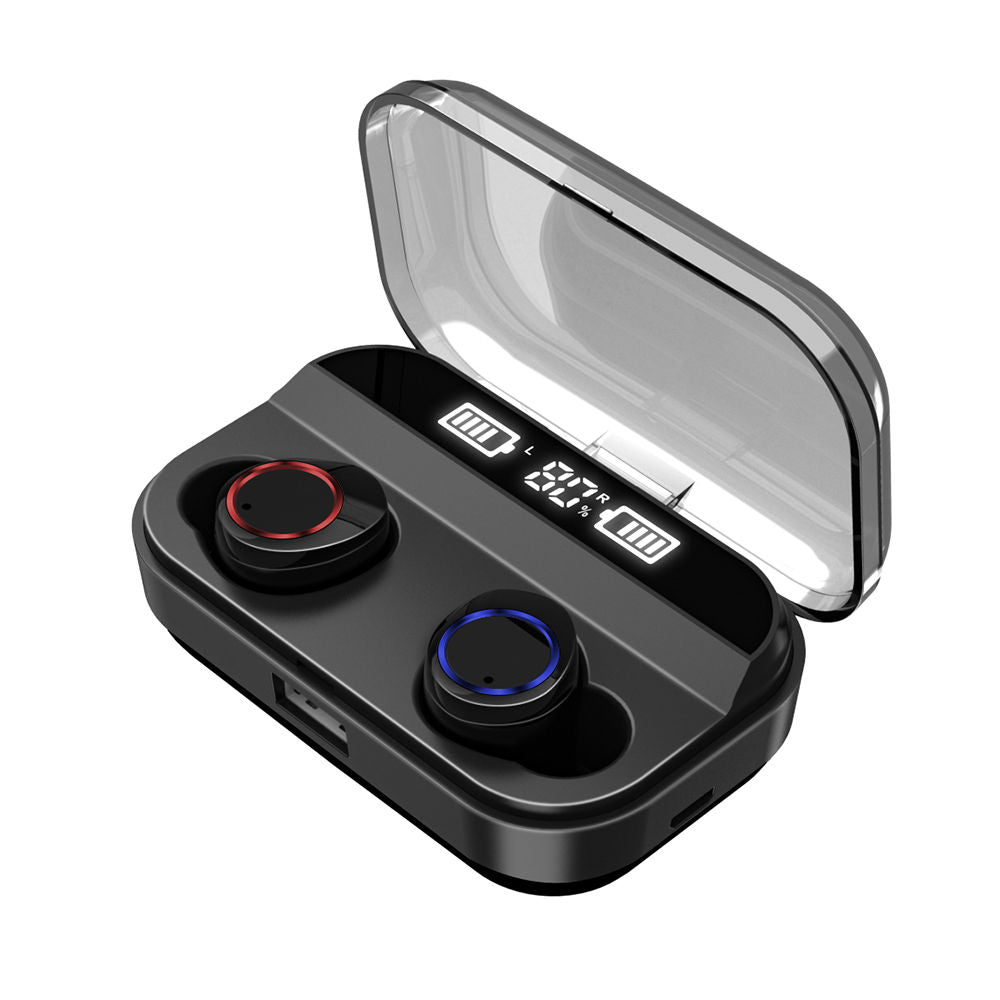 Bluetooth 5.0 Wireless Earbuds TWS X11 Headset Built-ion Mic with Magnetic Charging Case Black