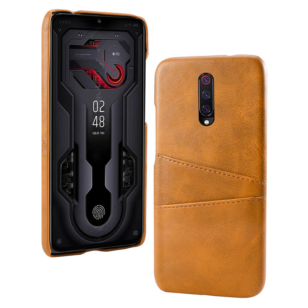 Xiaomi Mi 9T Phone Case with Leather Card Holder Slots Thin Cover Orange