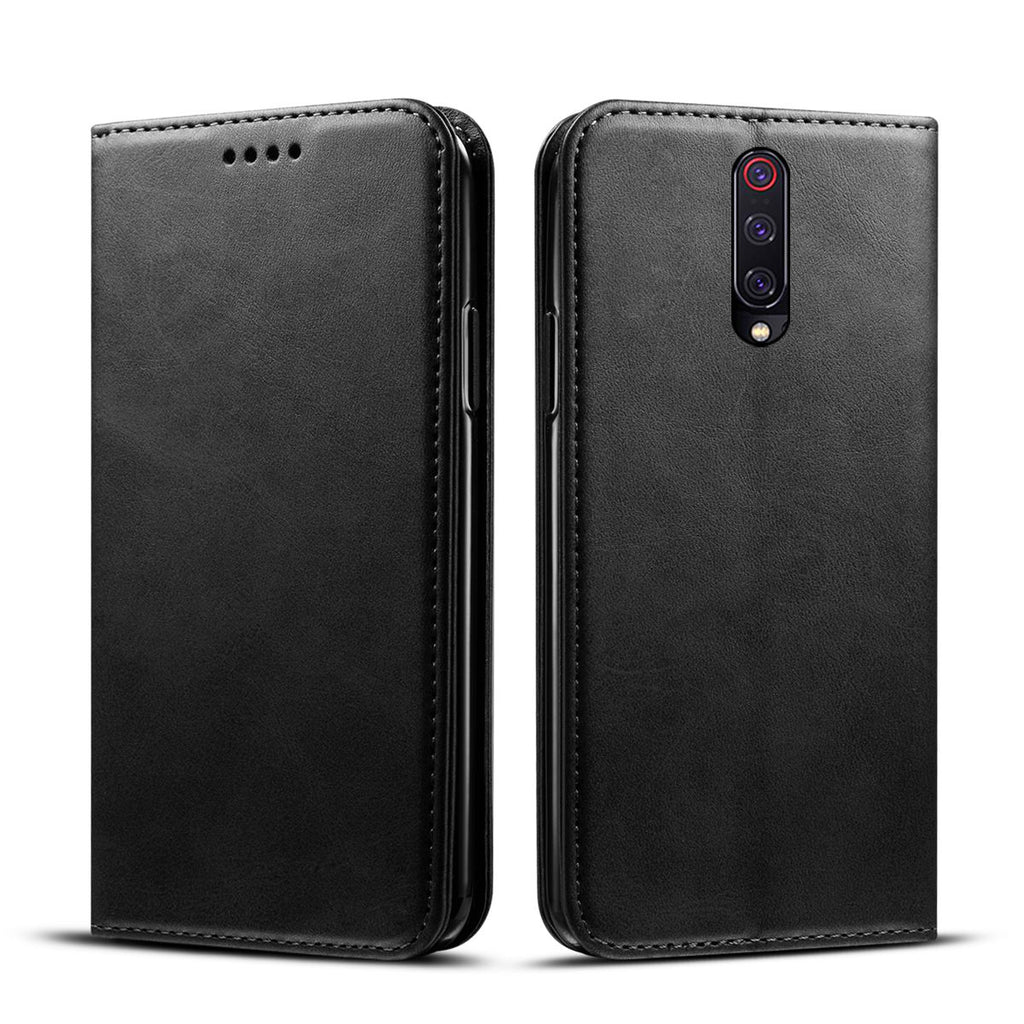 Xiaomi Mi 9T Wallet Case with Card Slots Flip Stand Leather Cover Black
