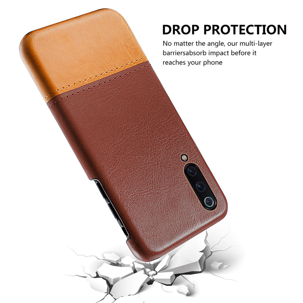 Xiaomi Mi 9 Explore Back Case Scratch Protection Splicing PU Leather Cover Brown-light brown