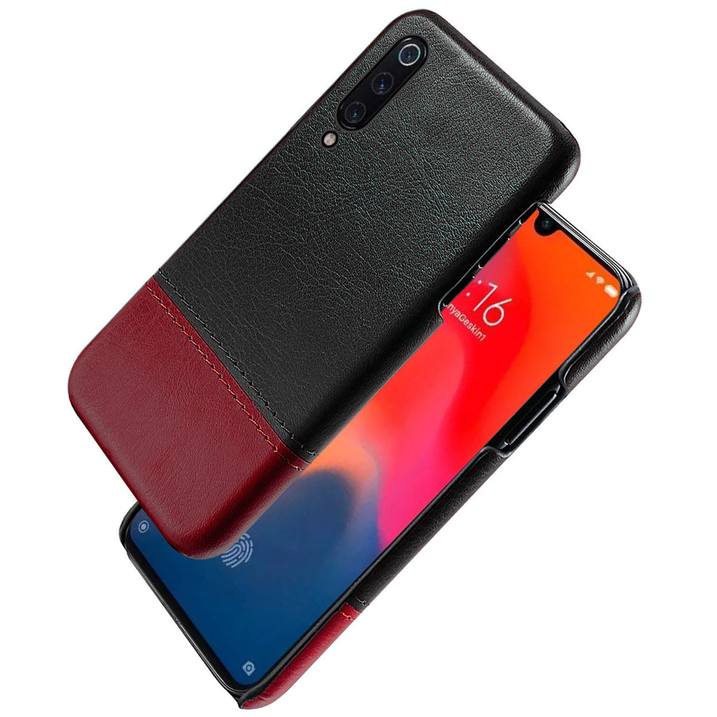 Xiaomi Mi 9 Explore Protective Back Cover Anti Scratch PU Leather Case Black-red