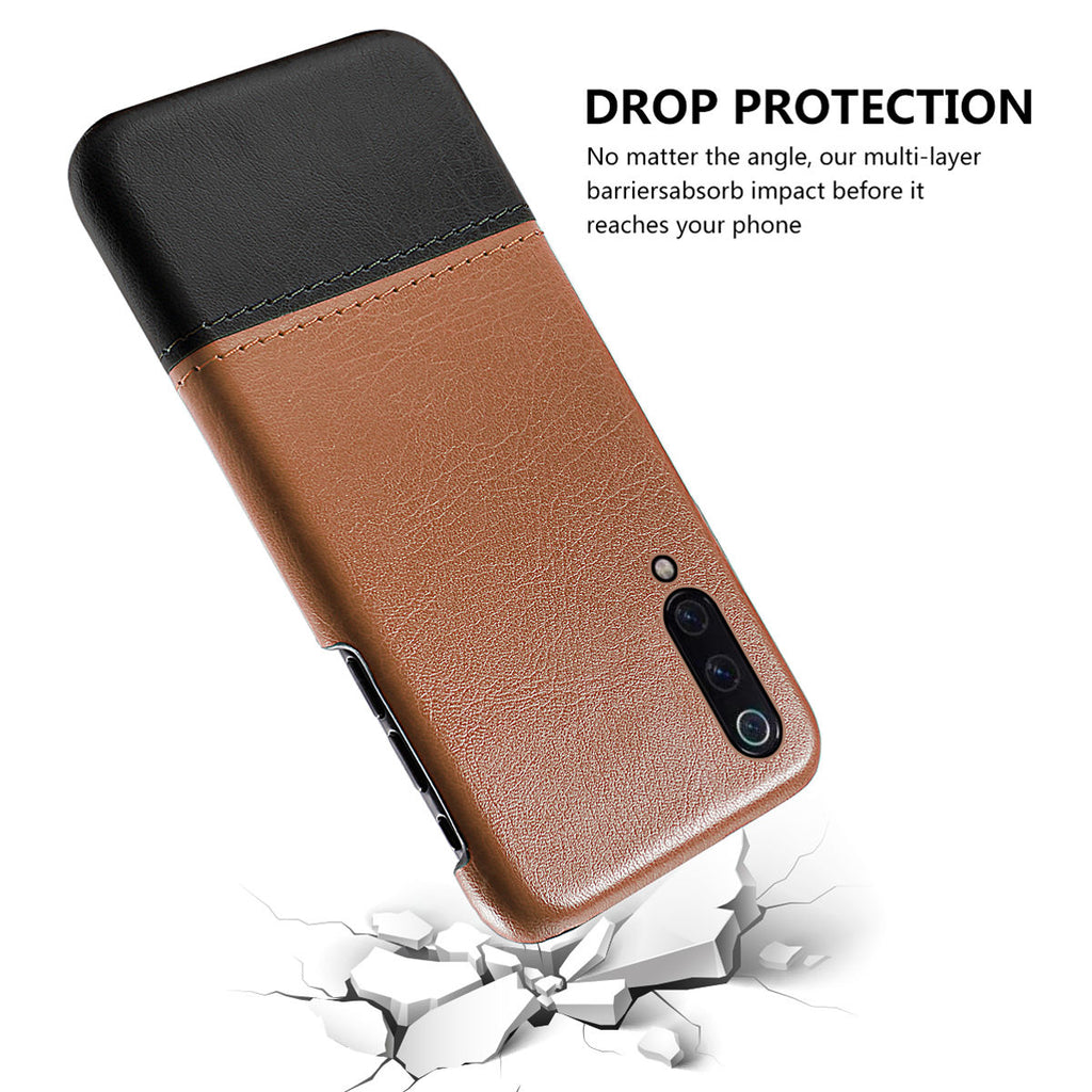 Xiaomi Mi 9 Splicing PU Leather Case Drop-proof Thin Case Brown-black