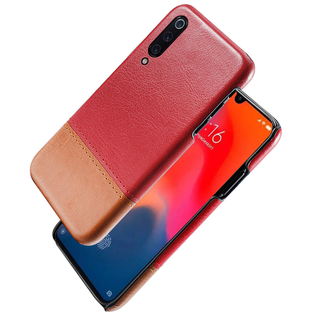 Xiaomi Mi 9 PU Leather Case Splicing Pattern Slim Cover Red-light brown
