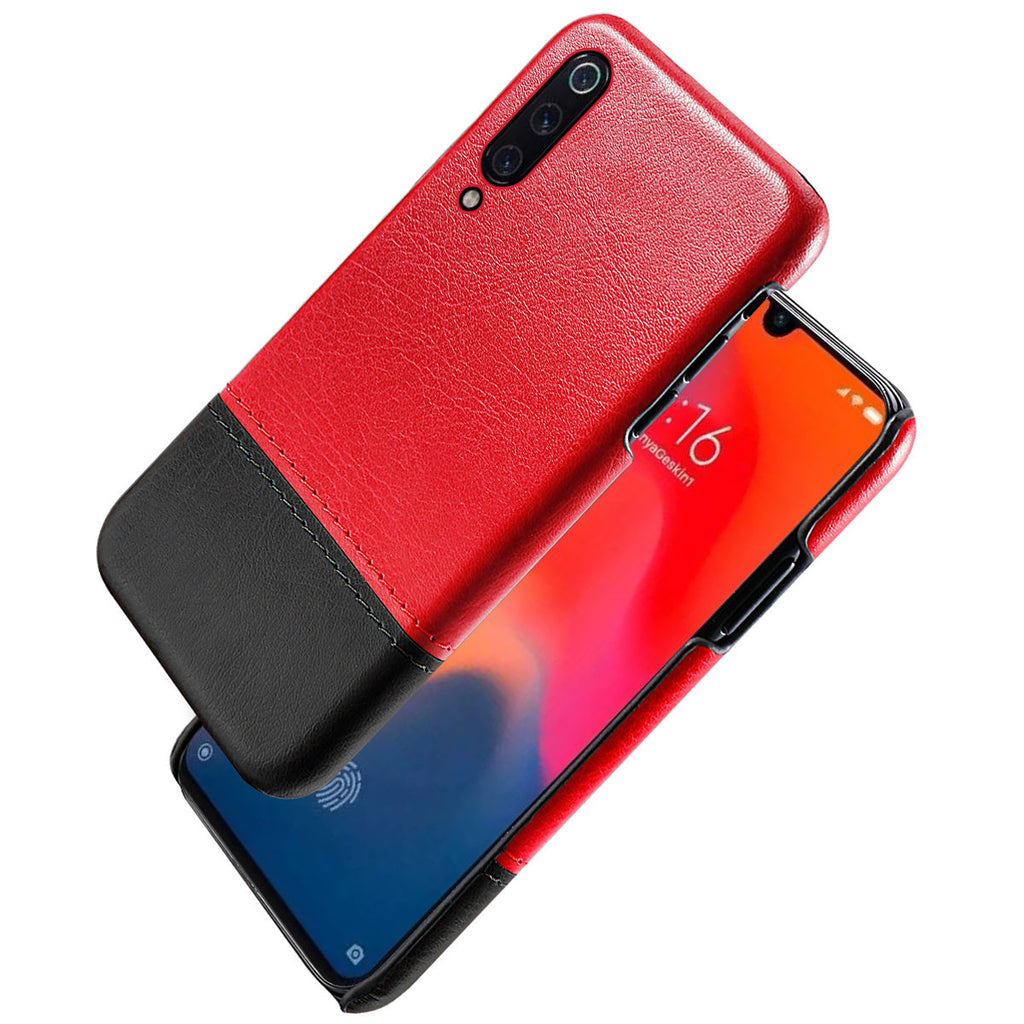 Xiaomi Mi 9 Case Slim Fit Guard Protection Splicing PU Leather Cover Red-black