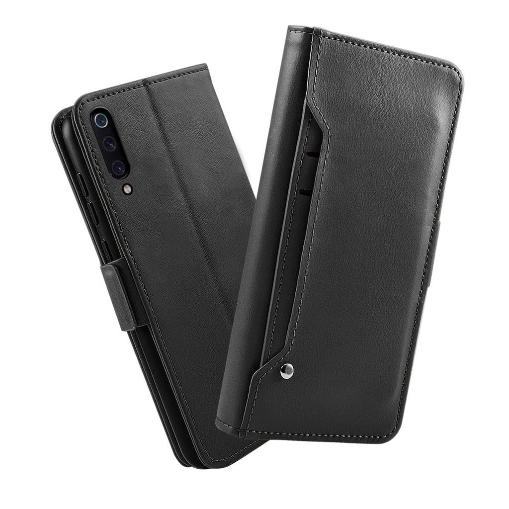 PU Leather Wallet Case for Xiaomi Mi 9 & Xiaomi Mi 9 Kickstand Magnetic Closure Detached Case Black