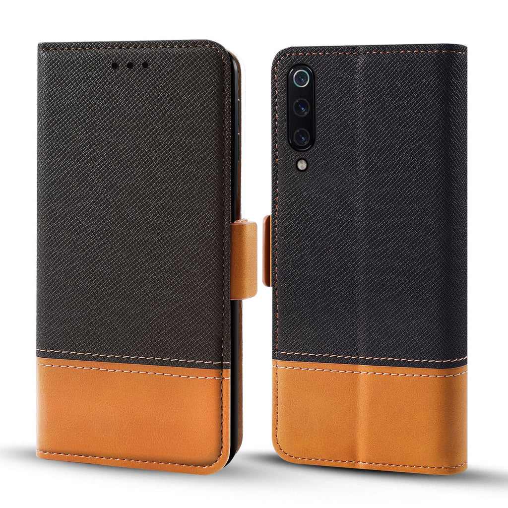Xiaomi Mi 9 Wallet Case Contrast Color PU Leather Xiaomi Mi 9 Explore Protective Case with Card Slot Black