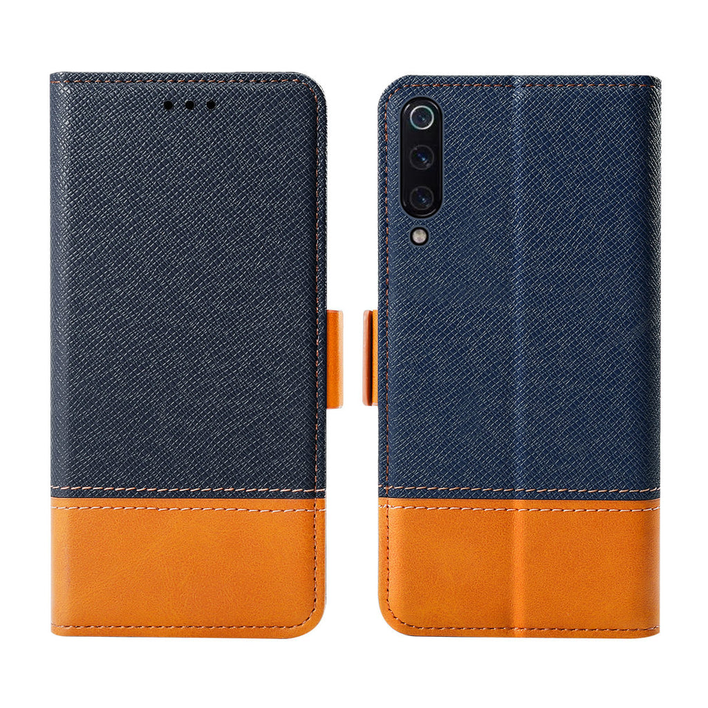Xiaomi Mi 9, Xiaomi Mi 9 Explore Wallet Case Ultra-Strong Magnetic Closure Card Slot Contrast Color Blue