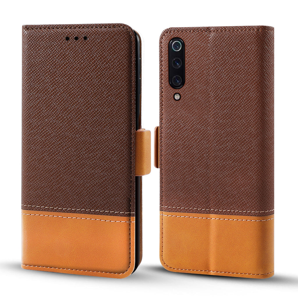 For Xiaomi Mi 9 Xiaomi Mi 9 Explore Protective Wallet Case Contrast Color Flip Stand Brown