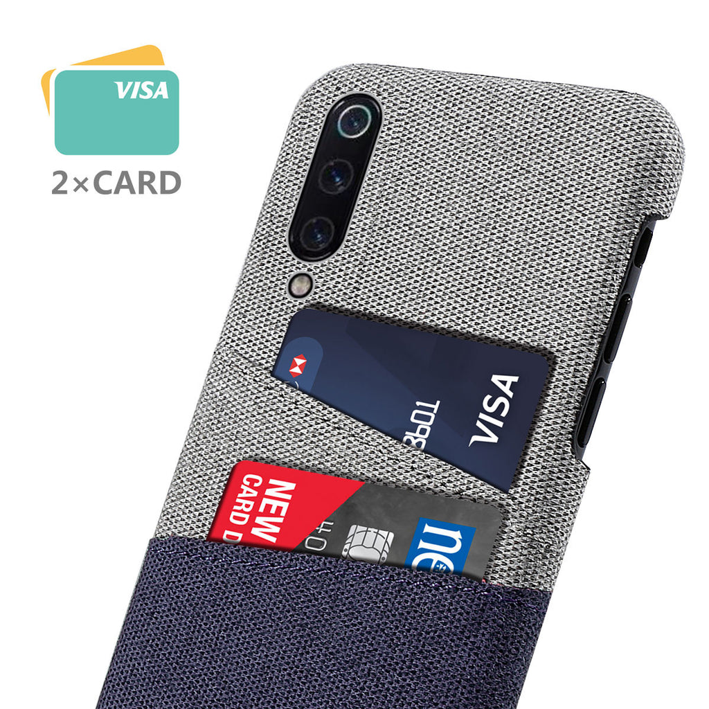 Xiaomi Mi 9 Back Case Woven Fabric Protective PC Cover Card Slot Blue