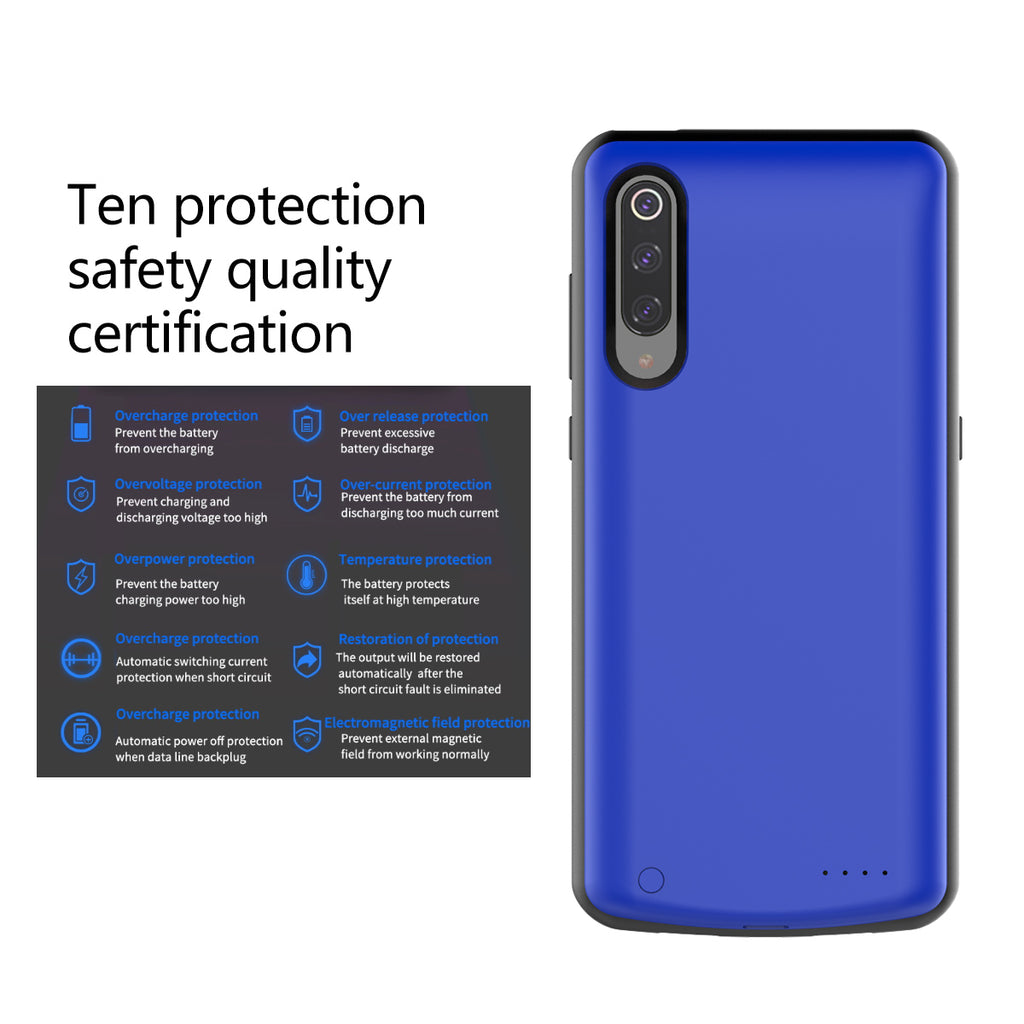 Xiaomi Mi 9 Battery Case Rechargeable 5000mAh Extended Power Bank Portable Charger Blue