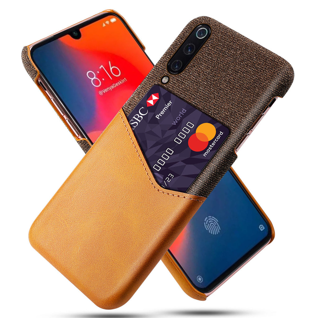 Xiaomi Mi 9 Protective Case Splicing PU Leather Soft Fabric Cover Card Slot Orange