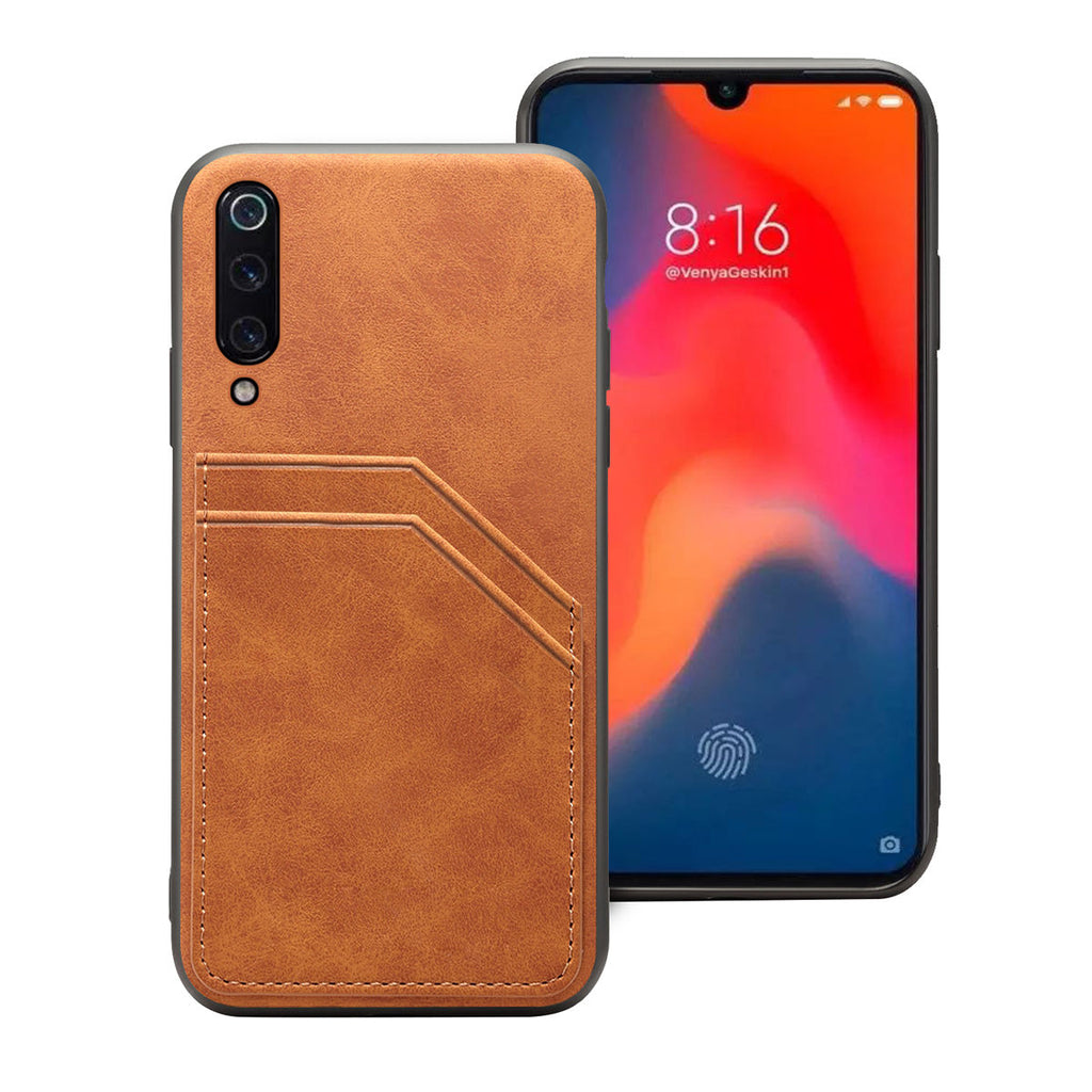 Xiaomi Mi 9 Anti Scratch Case TPU + PU Thin Cover Card Slot Brown