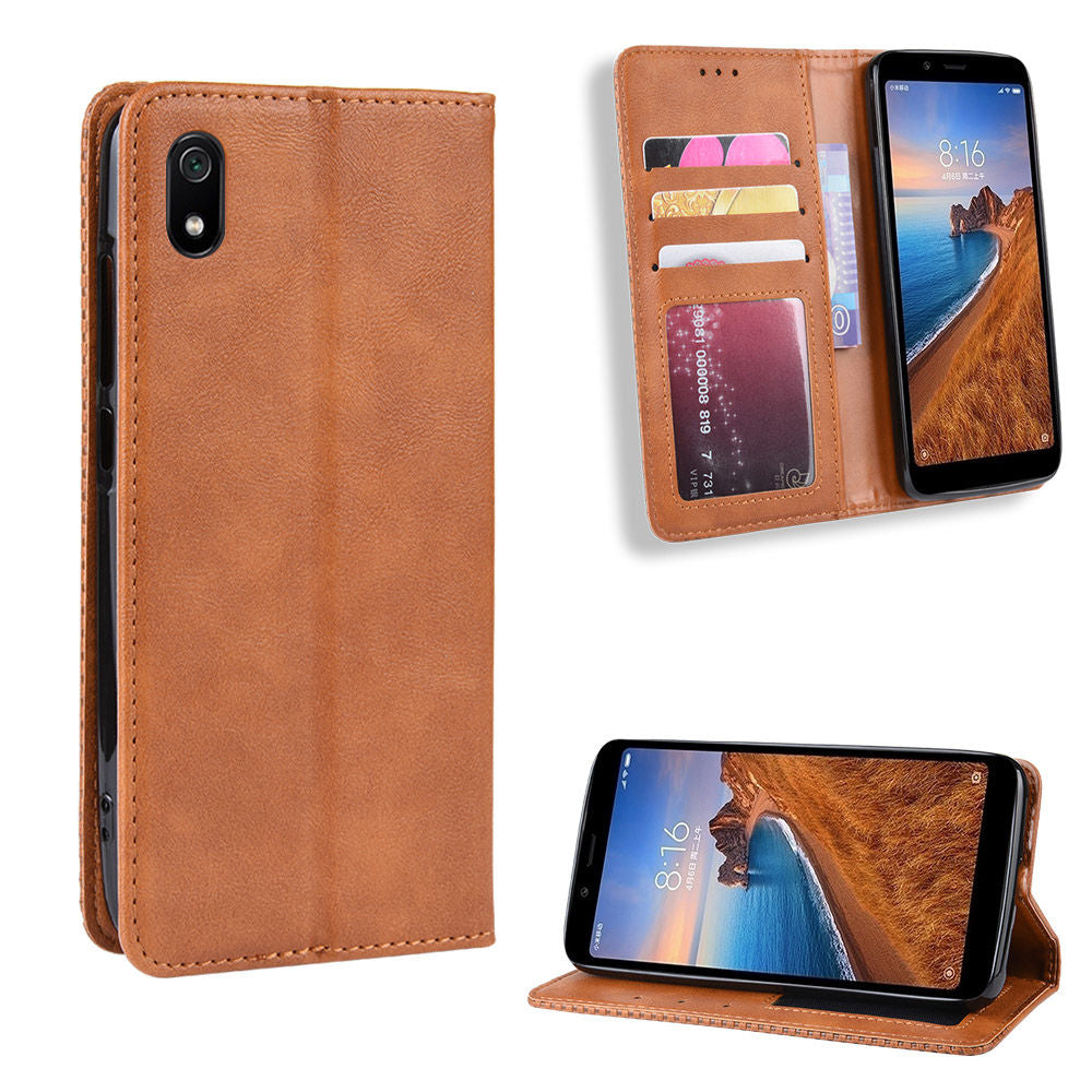 Xiaomi Redmi 7A Wallet Case Slim Leather Cover with Card Slots Brown