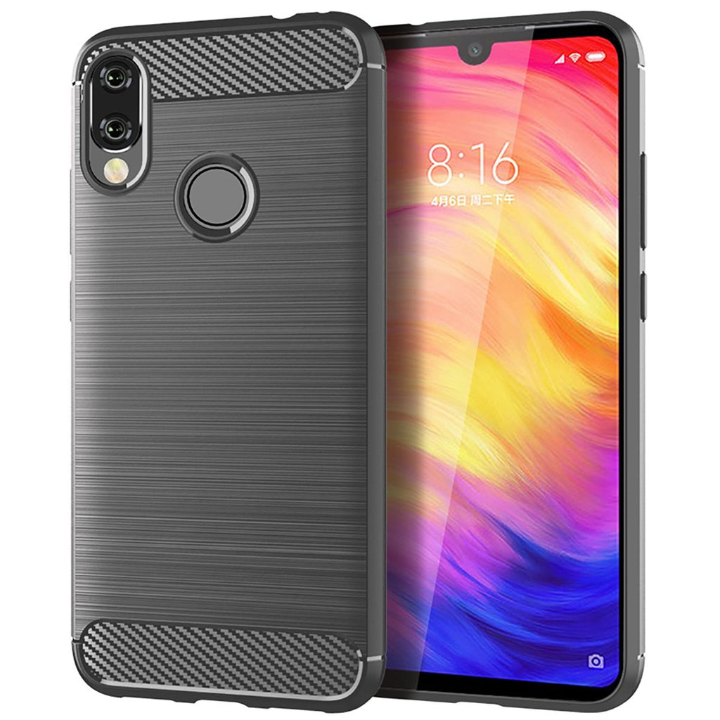 Xiaomi Redmi Note 7 Case Ultra Thin TPU Bumper Carbon Fiber Texture Cover Grey