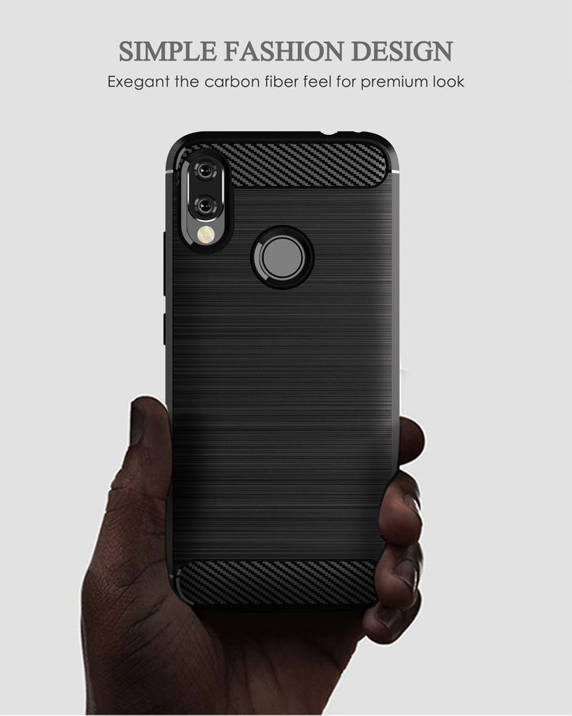 Xiaomi Redmi Note 7 Pro Case Rugged Shockproof TPU Carbon Fiber Cover Grey