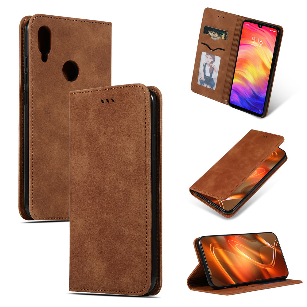 Redmi Note 7 Card Case Leather Folio Stand Cover with Card Holder Brown