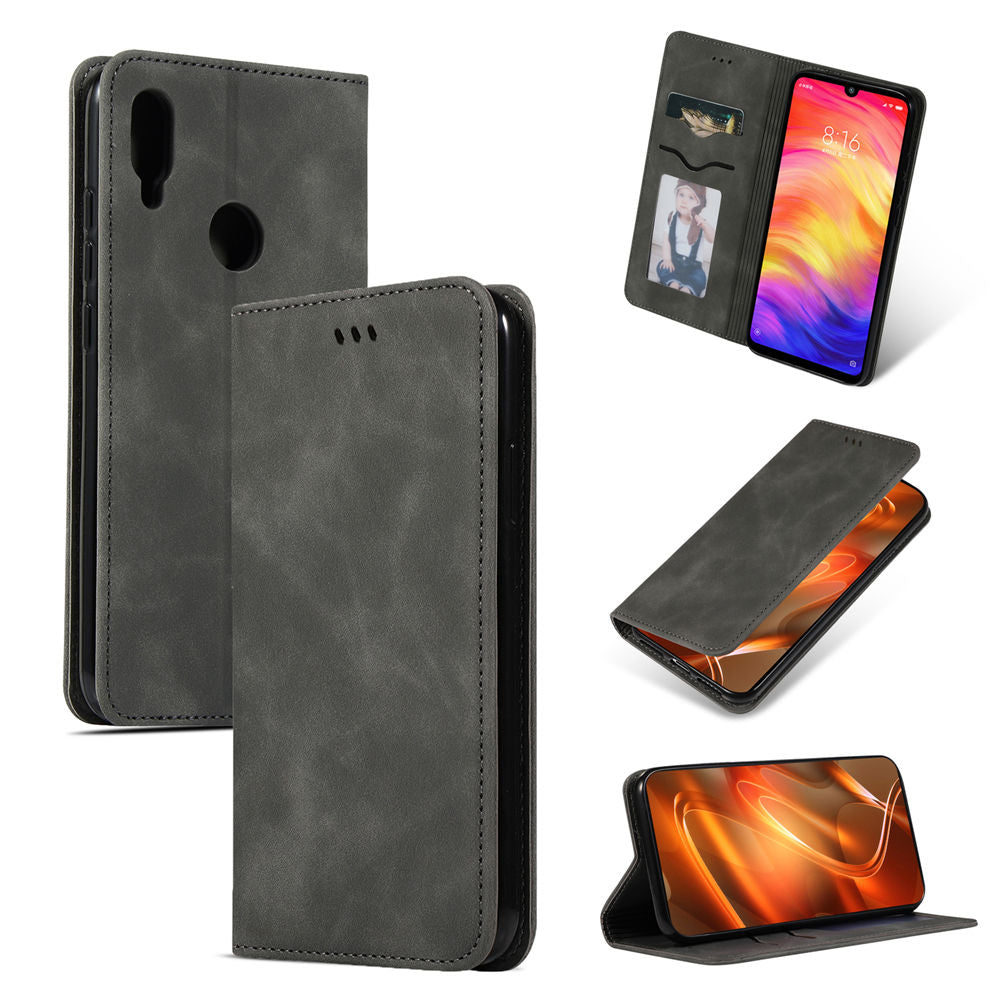 Redmi Note 7 Wallet Card Holder Leather Case Folio Stand Business Cover Grey