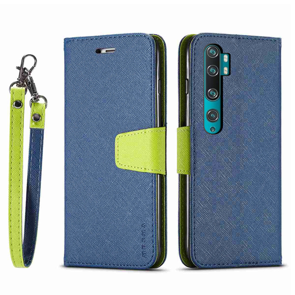 Xiaomi Mi Note 10 Leather Wallet Case Slim Wallet Phone Case Cover with Credit Card Holder Blue