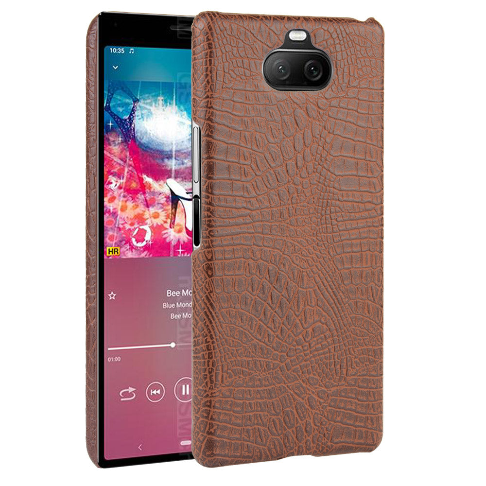 Sony Xperia 8 Case Slim Durable PC Anti-Slip Shock-Absorbent Case Crocodile Pattern Cover Brown