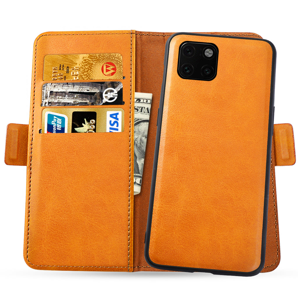 iPhone 11 pro Leather Cases Flip Stand Cover Detachable Shell with Card Holder Orange