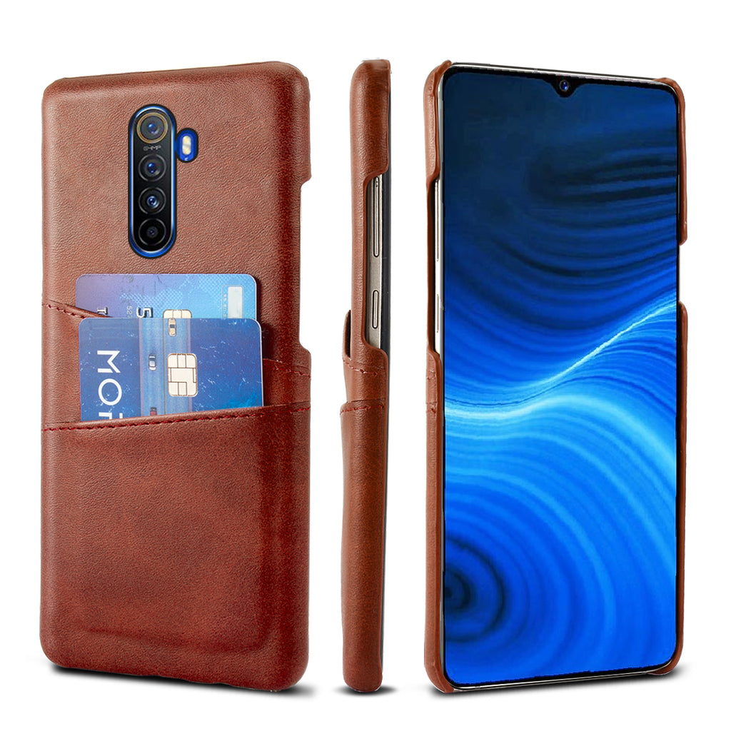 Card Case for Realme X2 Pro PU Leather Wallet Case with 2 Card Holder Slots Dark Brown
