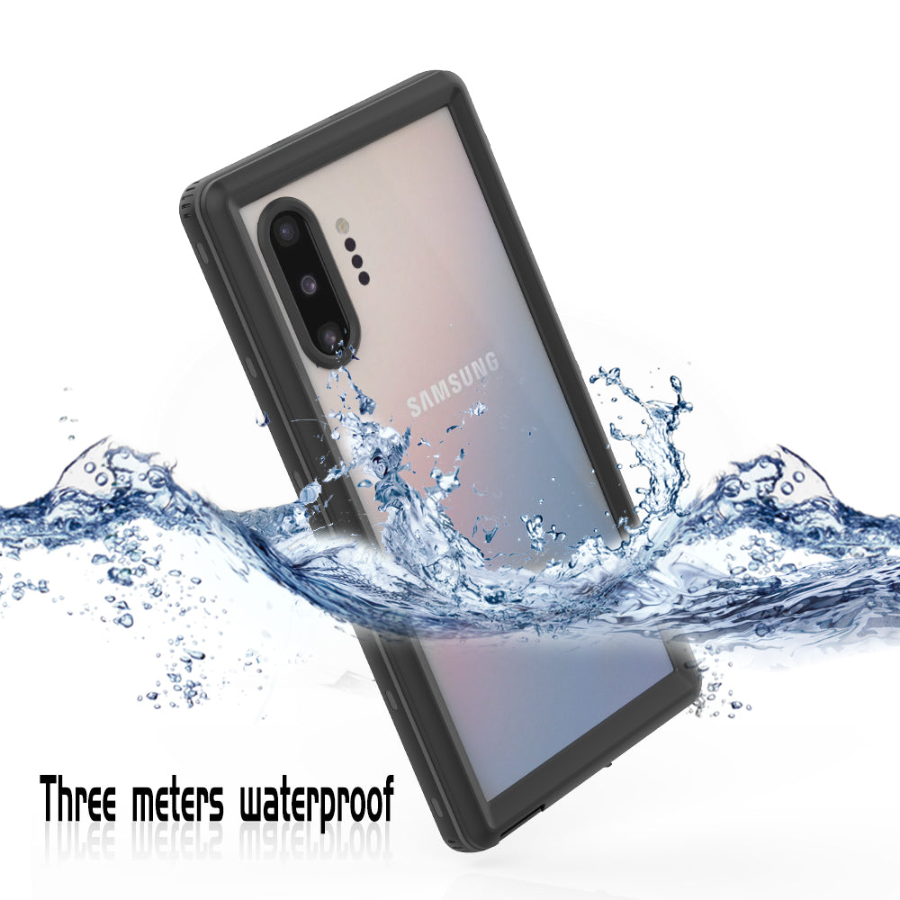 Galaxy Note 10 Plus Waterproof Case Rugged 360 Full-Body Cover with Built-in Screen Protector Black