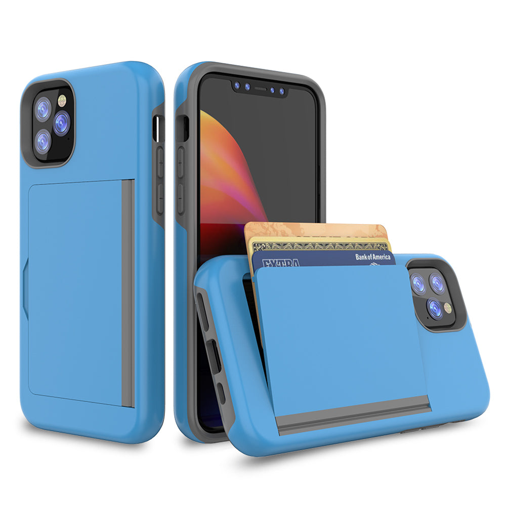Case for iPhone 11 Pro Military Dropproof Cover with Credit Card Holder Blue