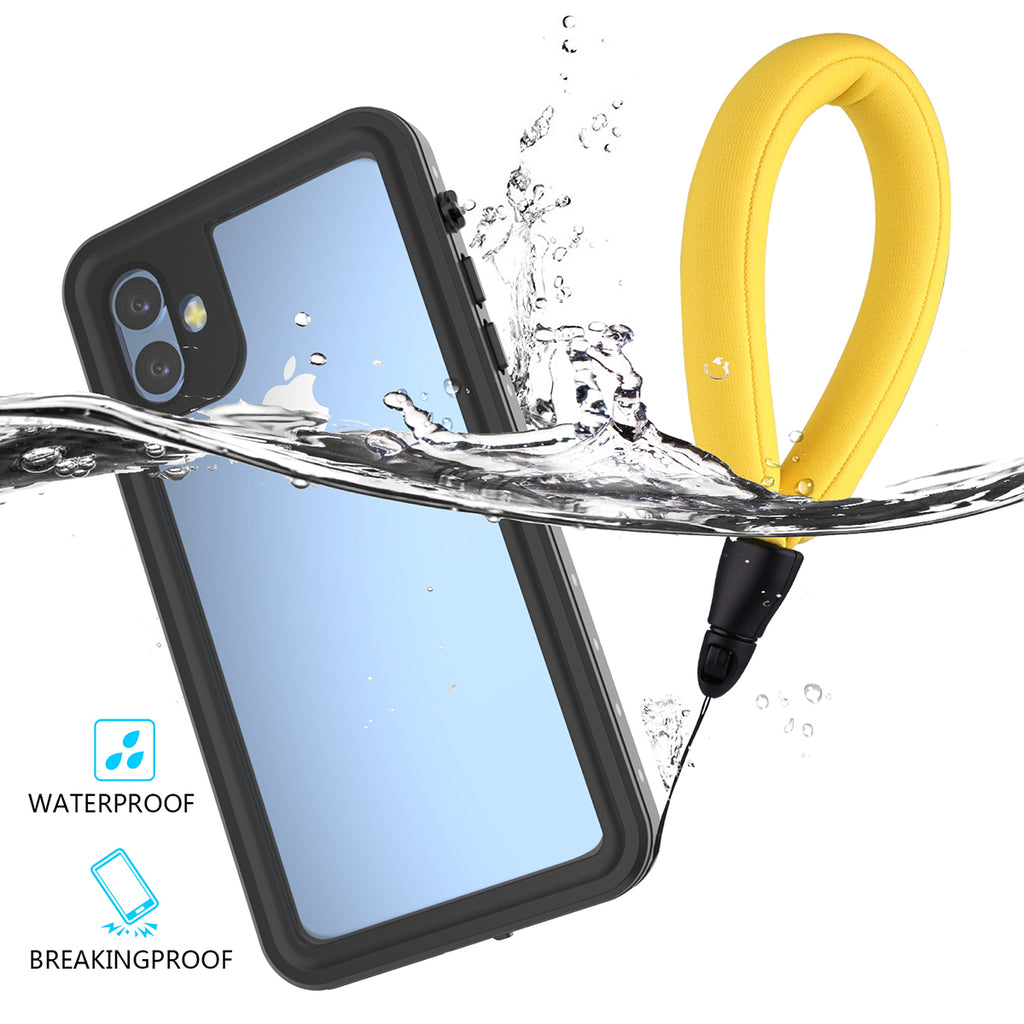 iPhone 11 Waterproof Case with Screen Protector & Floating Strap IP68 Waterproof Black