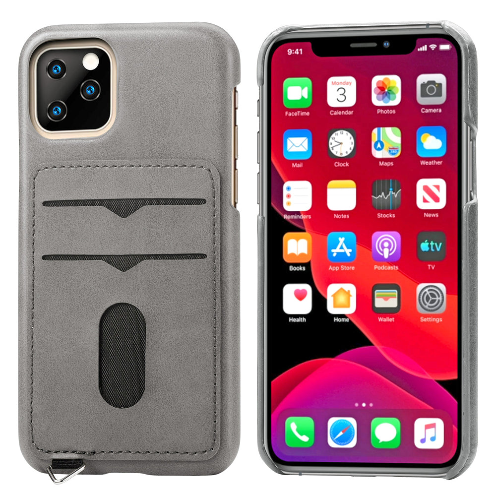iPhone 11 pro Case PU Leather Hard PC Protective Cover with Card Slots and Hook Grey