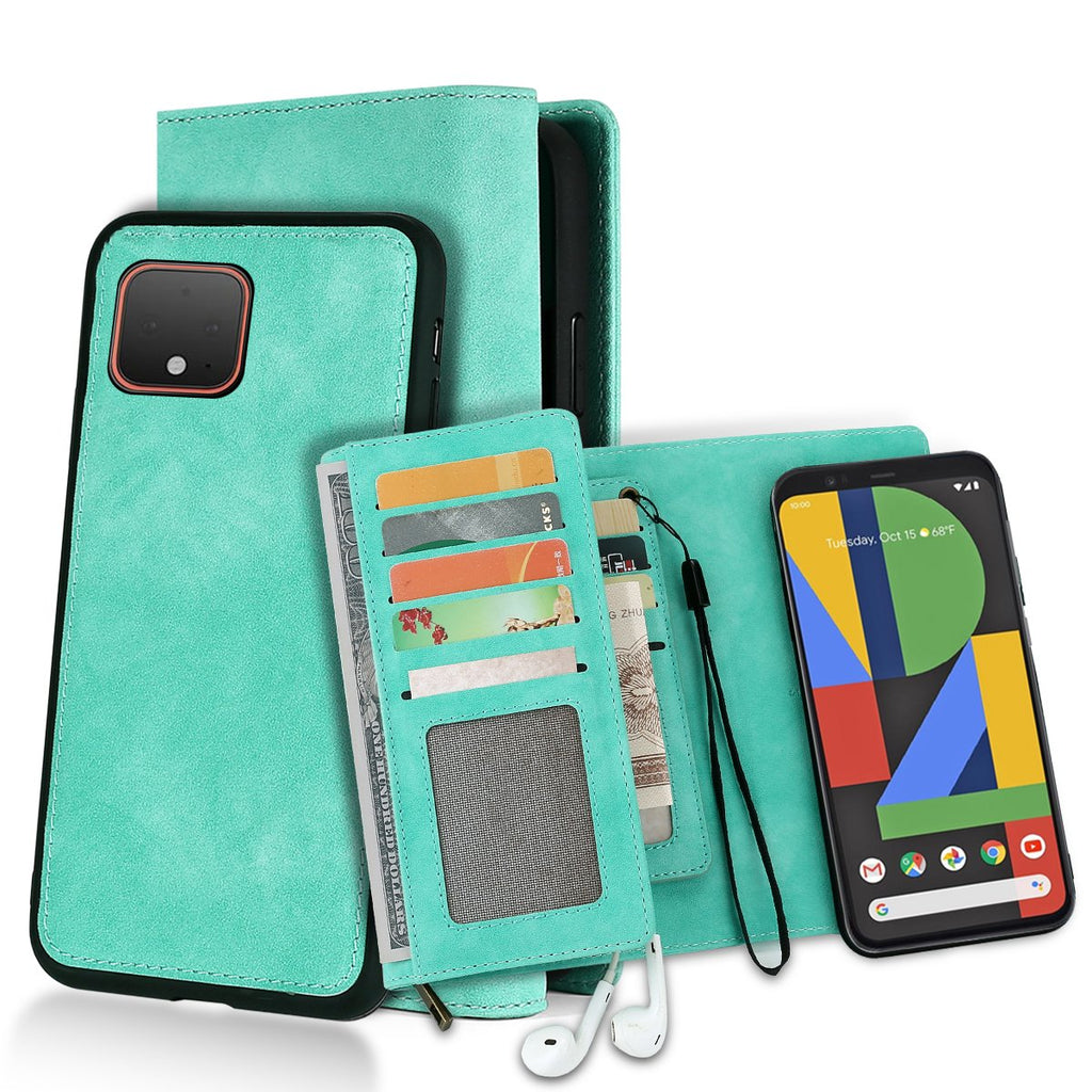 Wallet Case for Google Pixel 4 Leather Cover Stand Feature with ID&Credit Cards Pocket Green