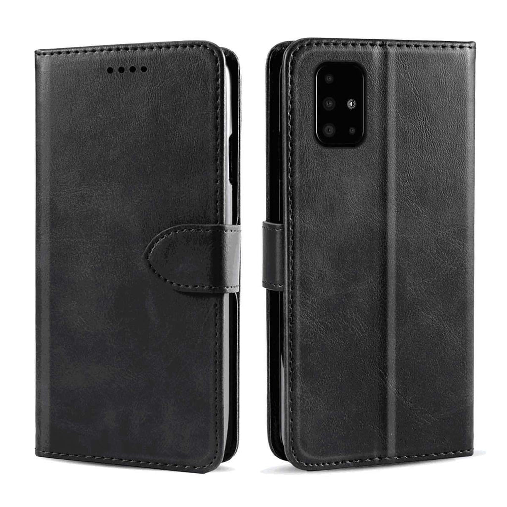 Wallet Case for Samsung A51 Magnetic Shock-Proof Calf Grain PU Leather Case with Card Holder Black