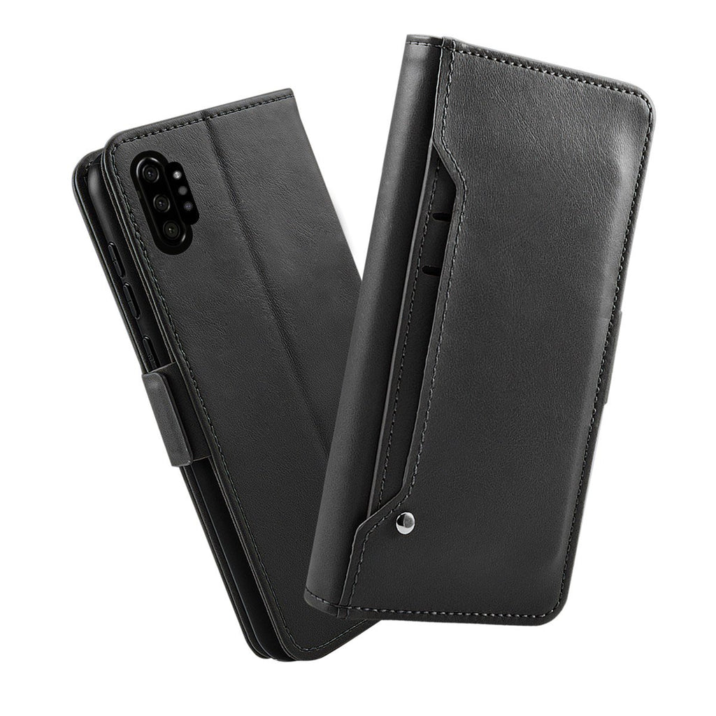 Folio Leather Case for Samsung Galaxy Note 10 plus with Card Slots Stand Black