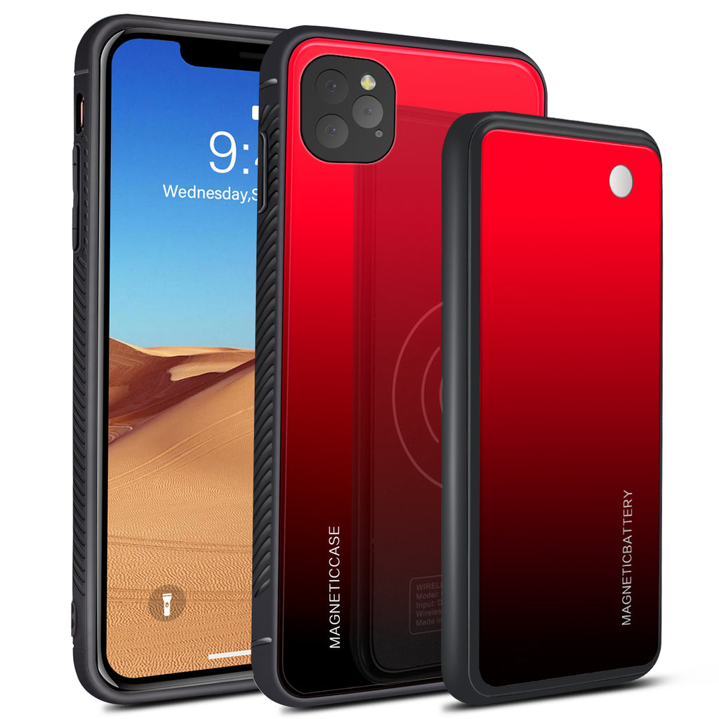iPhone 11 Pro Max Battery Case 5000mAh Fast Wireless Charger Anti-Scratch External Battery Cover Red