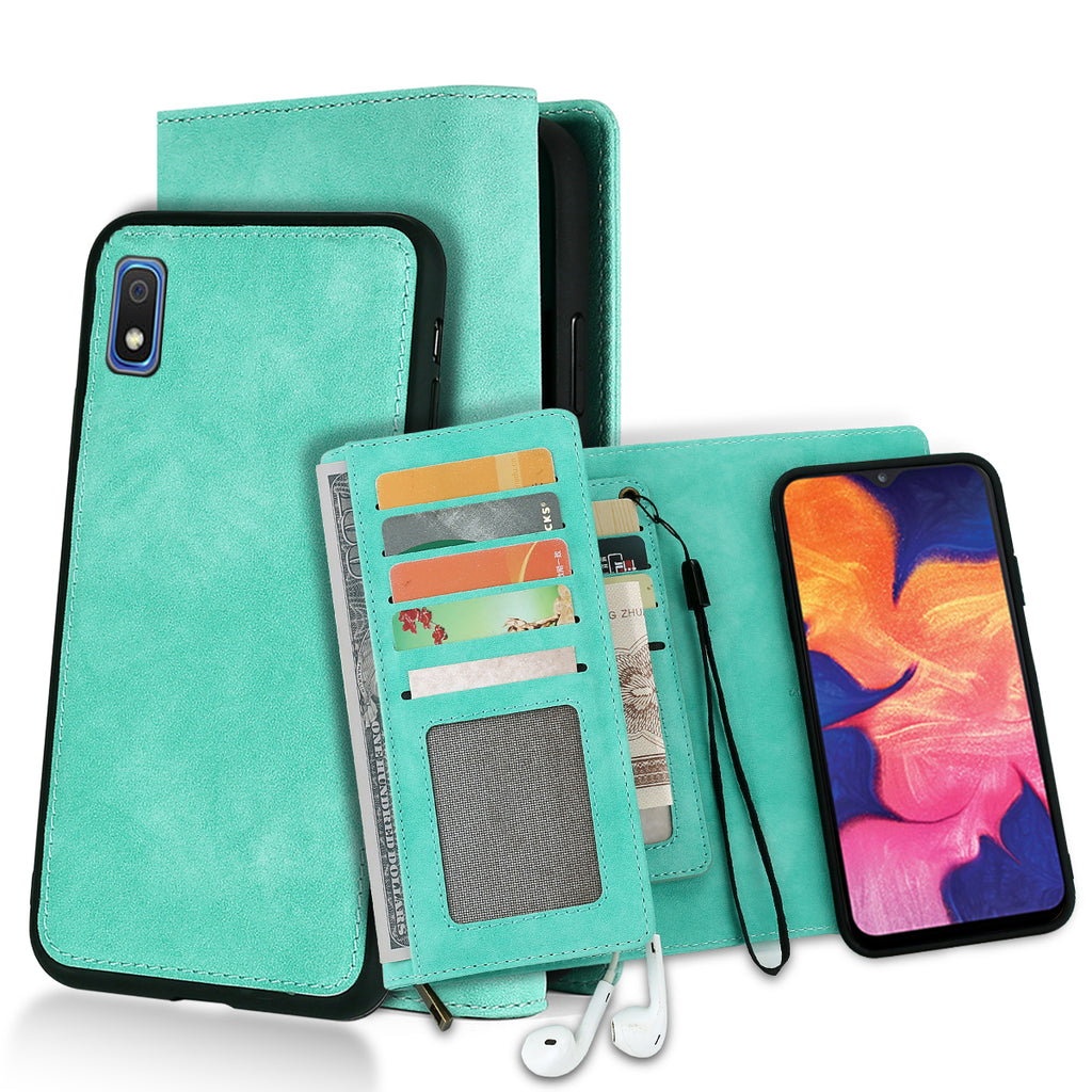 Wallet Case for Samsung A10 Leather Cover Stand Feature with ID&Credit Cards Pocket Green