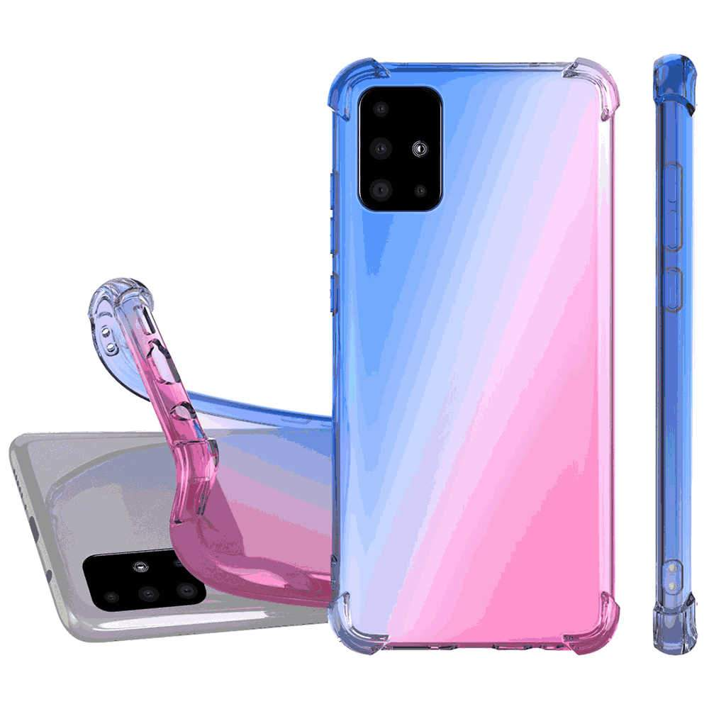 Cover for Samsung A51 Case Reinforced Corners TPU Bumper Transparent Rugged Case Blue-Pink