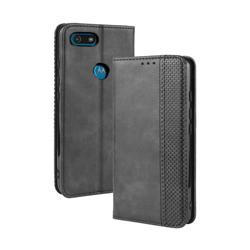 Moto E6 Play Leather Case Flip Case with Multiple Card Slots Phone Cover Black
