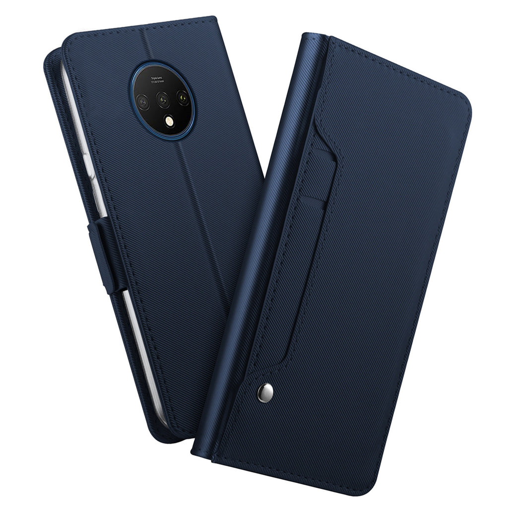 Oneplus 7T Leather Case Magnetic Closure Card Slots Wallet Flip Cover Blue