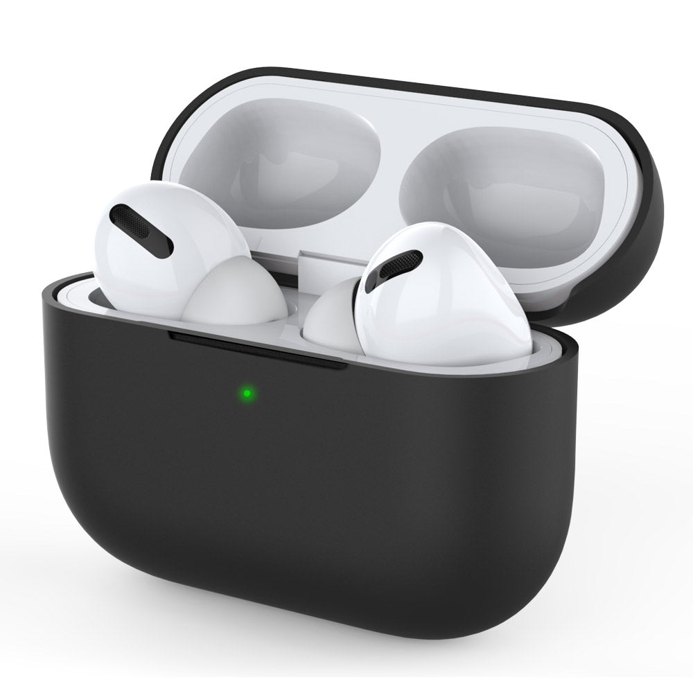 AirPods Pro Case Protective Cover Visible Front LED Silicone Case for Apple AirPods Pro Black