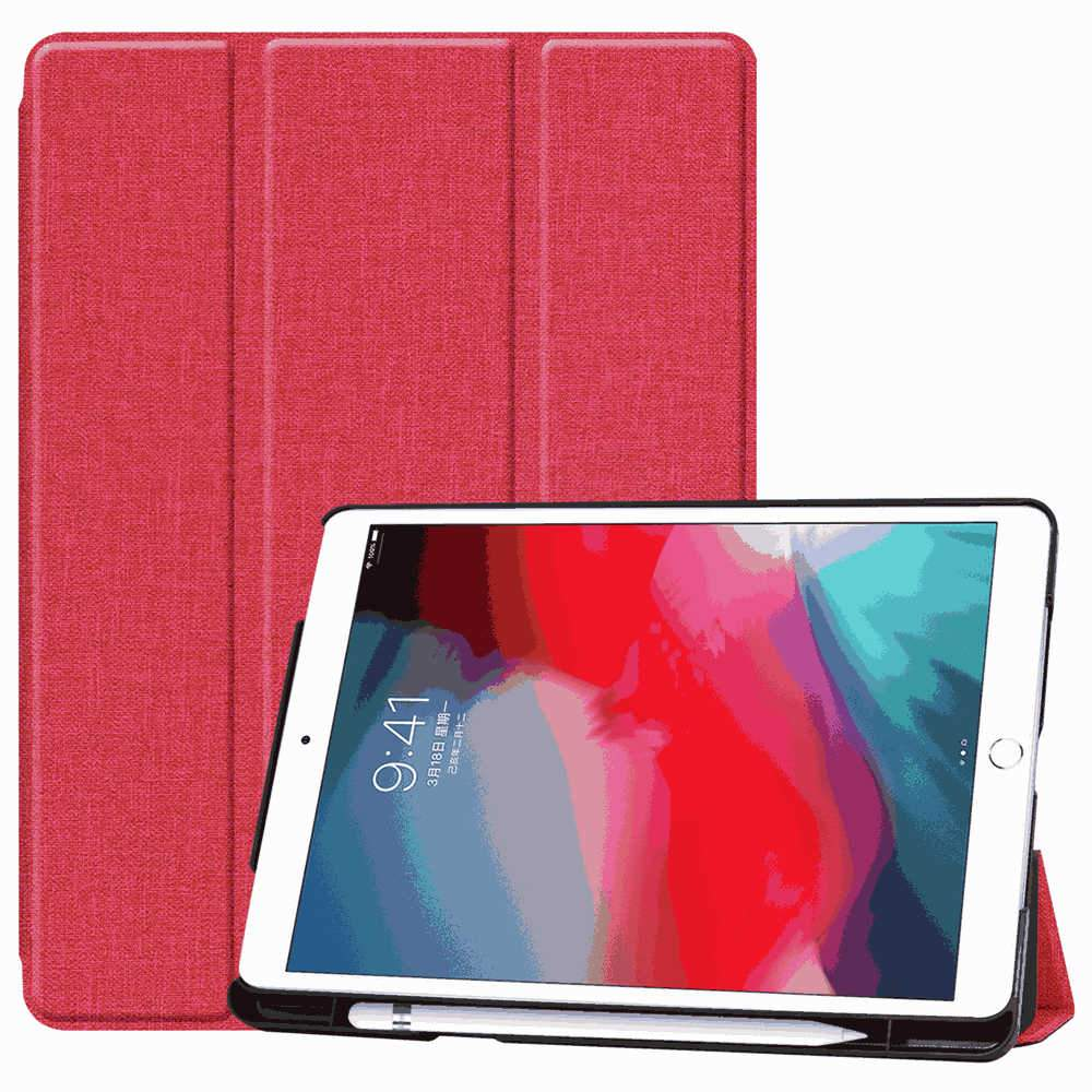 10.2 inch ipad leather case folio stand cover with Pen Holder Auto Sleep Function Red