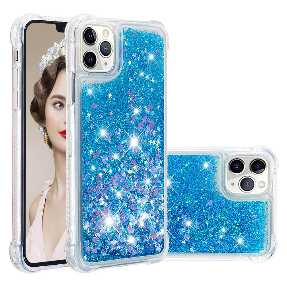 Case for iPhone 11 Pro Max Glitter Liquid Floating Sparkle Bling Shockproof Case Blue