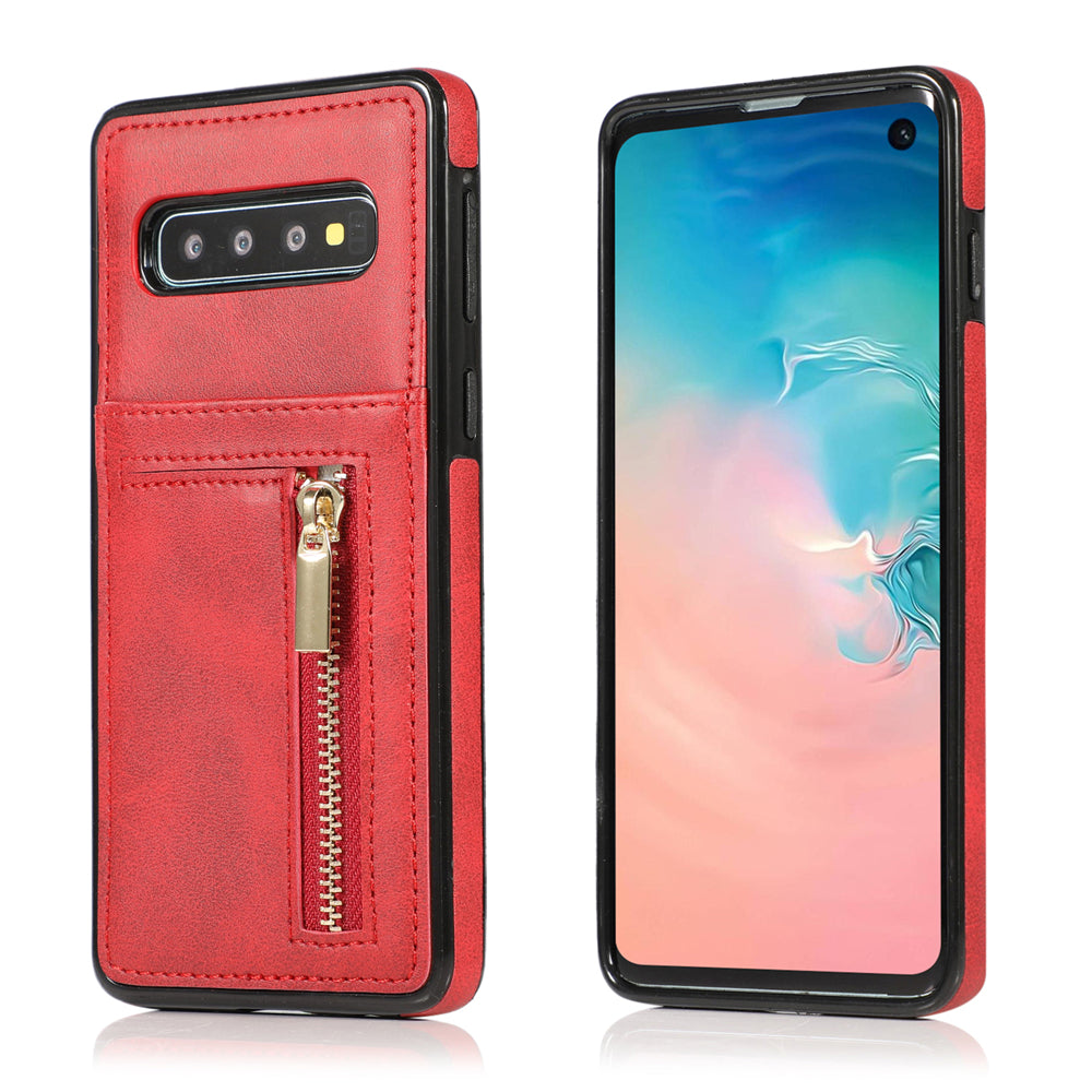 Galaxy S10 Plus card case zipple wallet phone case protected cover for girl Red