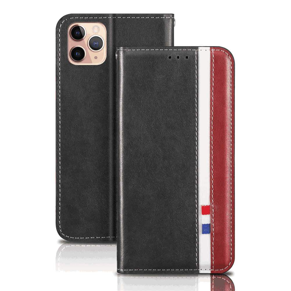 iPhone 11 Pro 5.8 Inch Leather Case Protective Shell Flip Stand Cellphone Cover with Card Slot City Series Grey