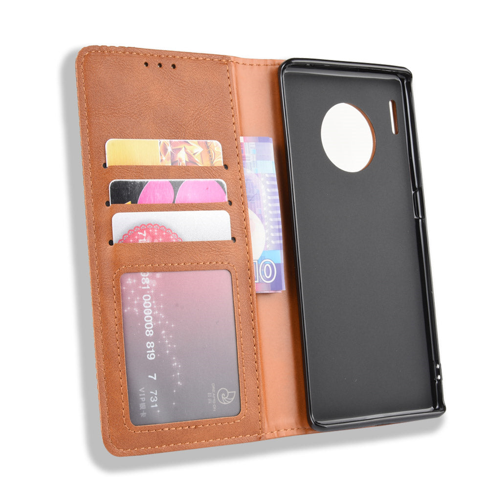 Huawei Mate 30 Pro Leather Wallet Case Vintage Card Slots Case Phone Cover Brown