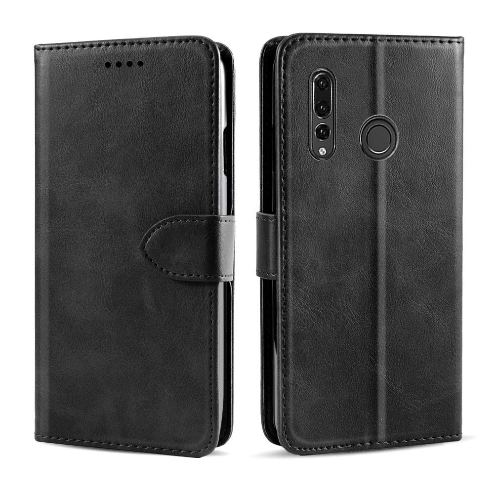 HUAWEI Y9 PRIME 2019 Leather Case with Card Holder Stand Magnetic Clasp Black