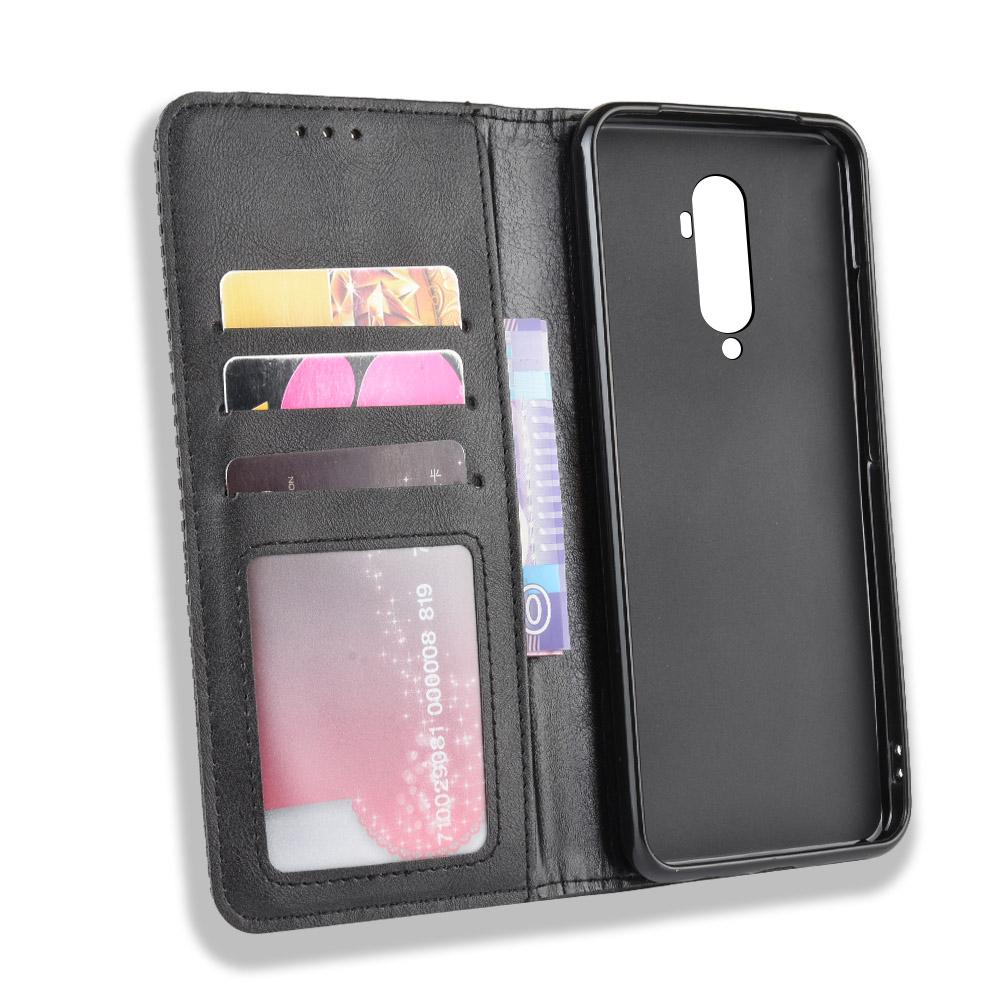 Oneplus 7T Pro Wallet Case Flip Folio Stand Holder Leather Cover with Card Slot Black