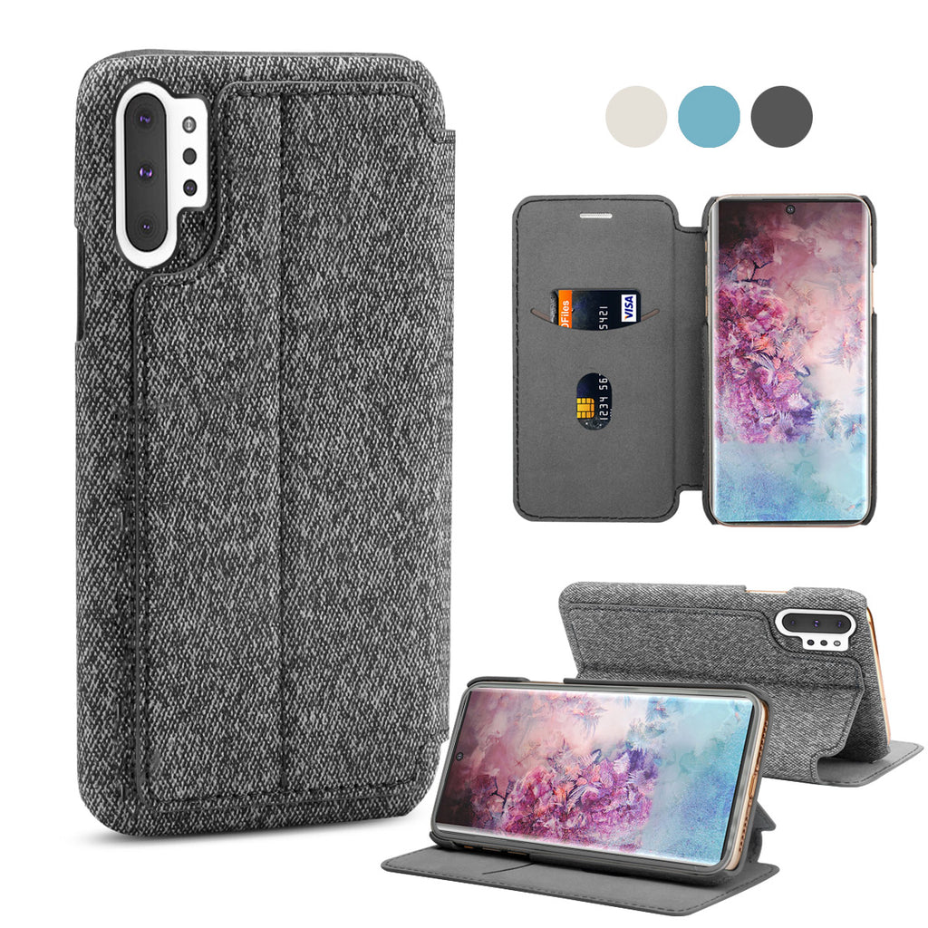 Fabric Wallet Case for Galaxy Note 10 plus with Card Slot Leather Cover Black